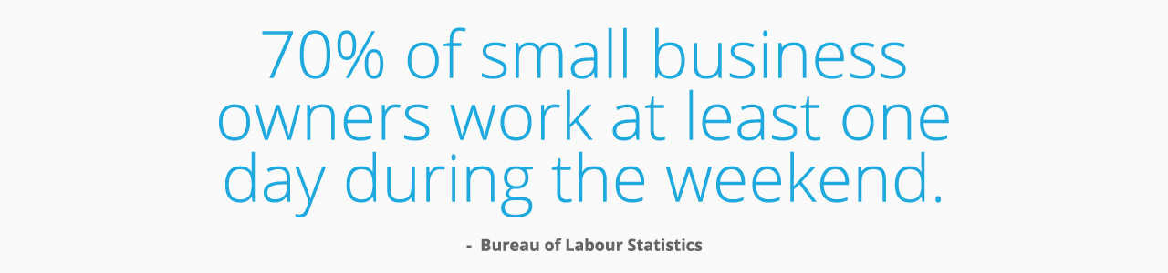 70% of small business owners work at least one day during the weekend.