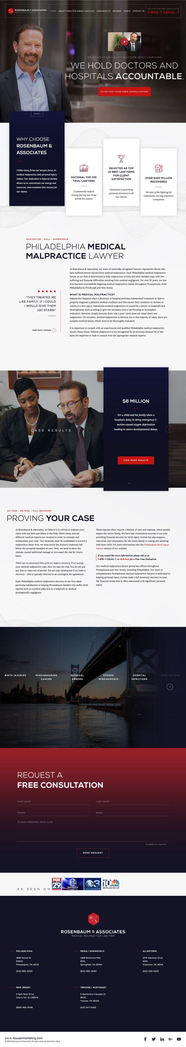 Rosenbaum and Associates Lawyer Website Screenshot