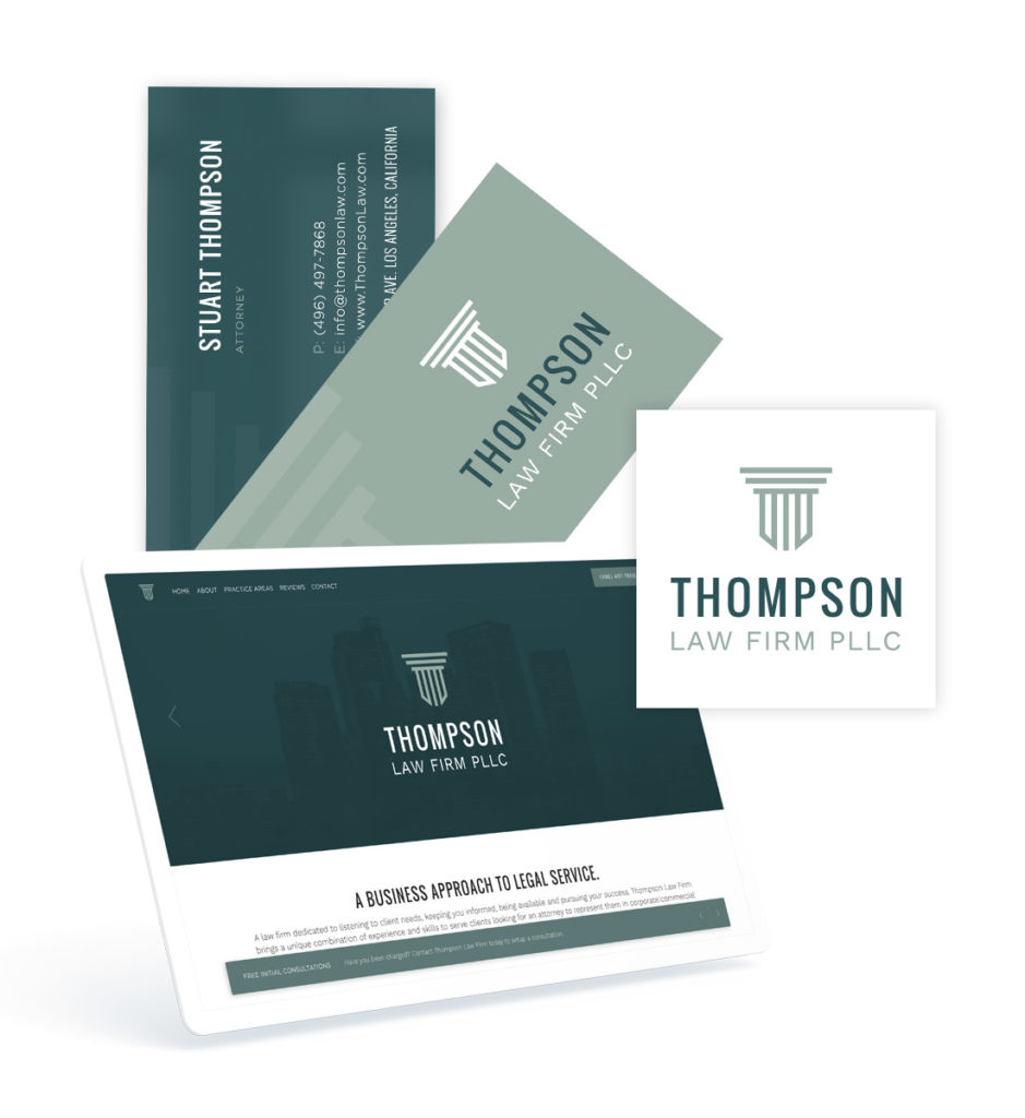 website and front and back business card design with custom logo